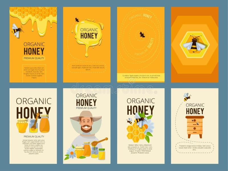 Vectorkaarten met illustraties van bijenstal Beelden van honing, bijenkorf en het in de was zetten royalty-vrije illustratie