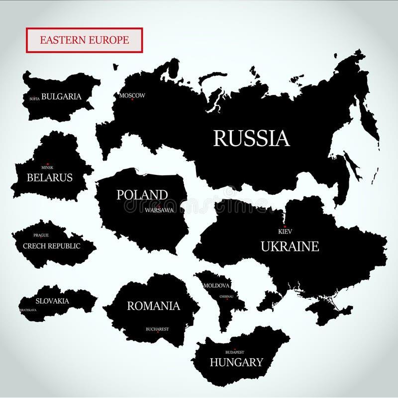 Vectorkaarten van Oost-Europa met kapitalen stock illustratie
