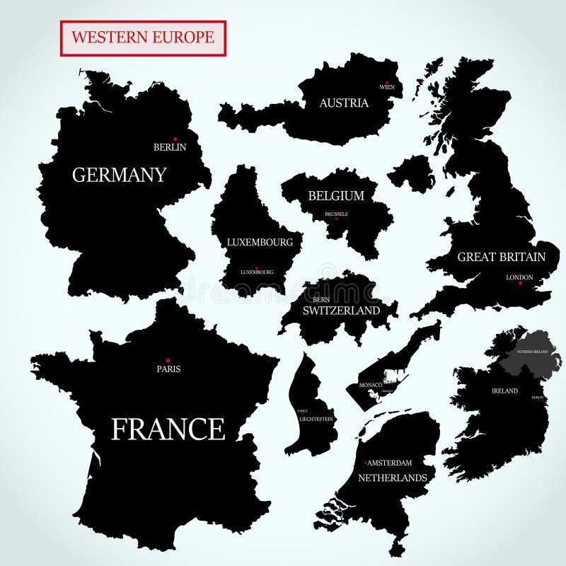 Vectorkaarten van Westelijk Europa met kapitalen vector illustratie