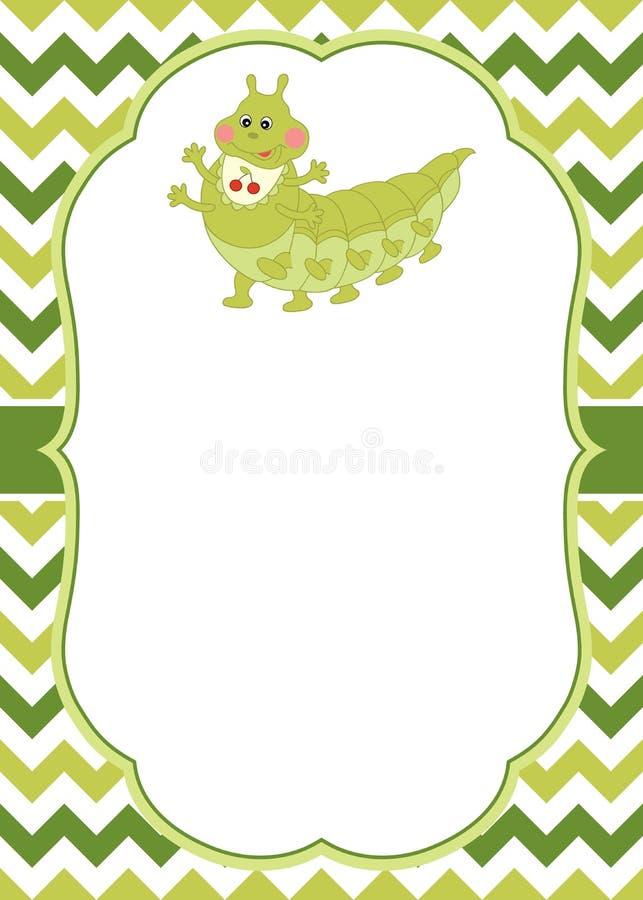Vectorkaartmalplaatje met een Beeldverhaal Caterpillar op Chevronachtergrond Vectorcaterpillar royalty-vrije illustratie