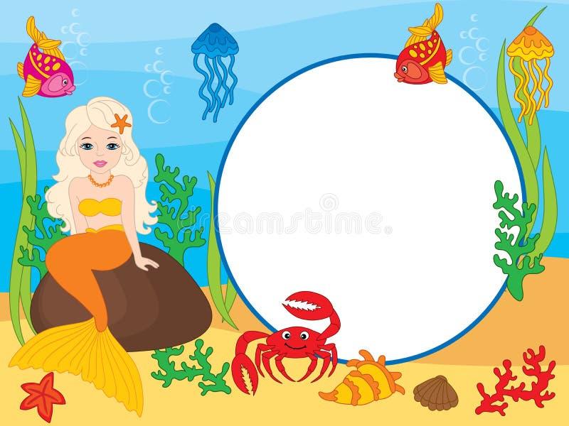 Vectorkaartmalplaatje met Meermin, Krab, Vissen, Kwallen en Zeester Het vector Onderwater en Overzeese Leven royalty-vrije illustratie