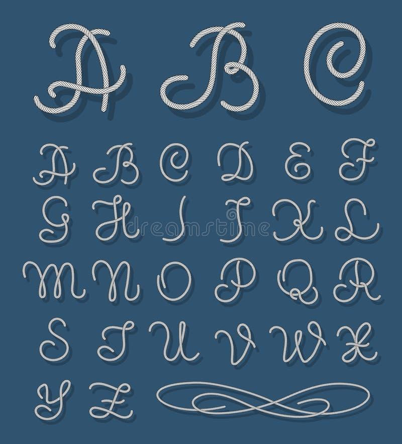 Vectorkabeldoopvont De zeevaartalfabetkabels overhandigen getrokken brieven stock illustratie