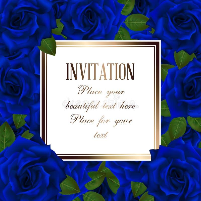 Vectorkader als achtergrond met blauwe rozen en plaats voor tekst stock illustratie