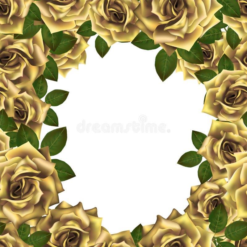 Vectorkader als achtergrond met gele rozen en plaats voor tekst vector illustratie
