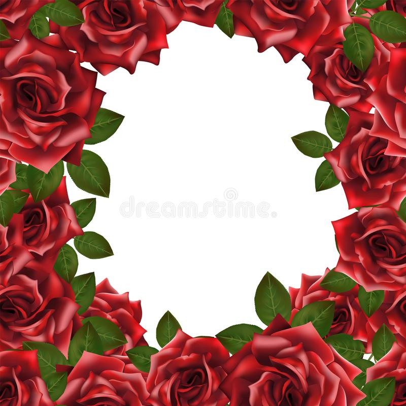 Vectorkader als achtergrond met rode rozen en plaats voor tekst royalty-vrije illustratie