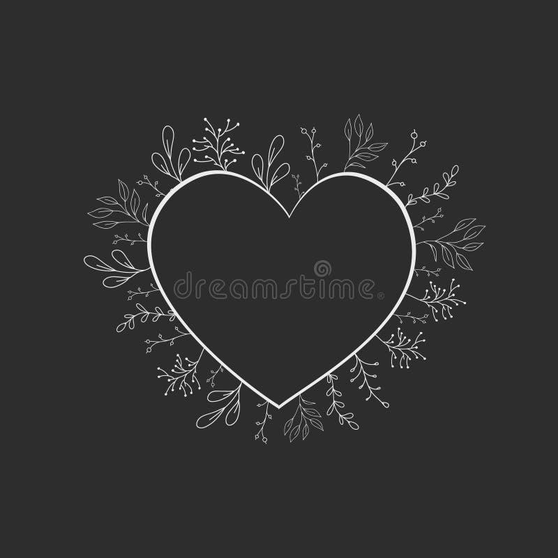 Vectorkader in de vorm van een hart met bloemen en installaties in de stijl van krabbel Plantaardig ontwerp voor het huwelijk royalty-vrije illustratie