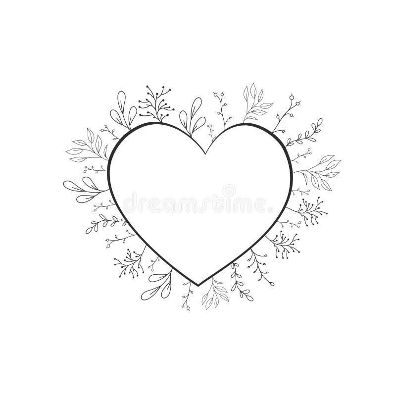 Vectorkader in de vorm van hart met bloemen en installaties in de krabbelstijl Botanisch ontwerp voor het huwelijk stock illustratie