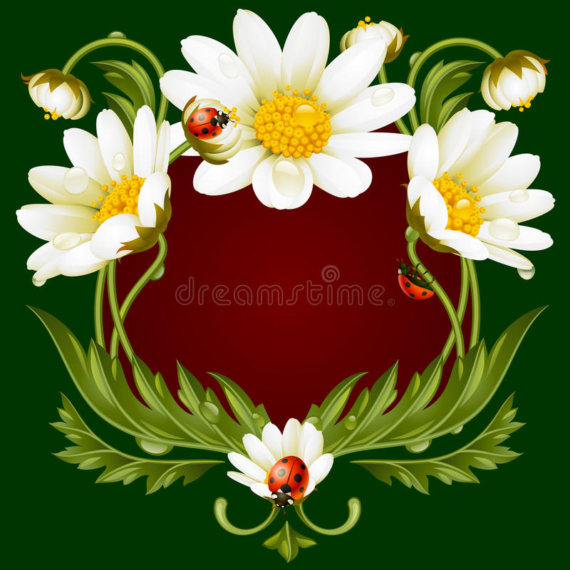 Vectorkader met madeliefjes in de vorm van bloemendierengezicht vector illustratie