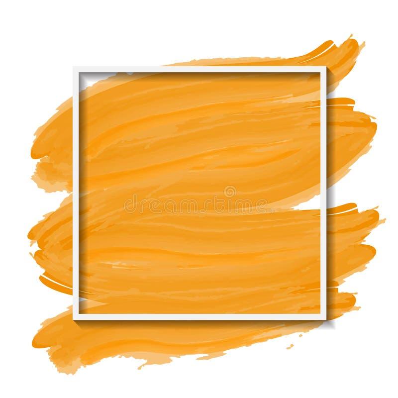 Vectorkader op gele geborstelde achtergrond stock illustratie