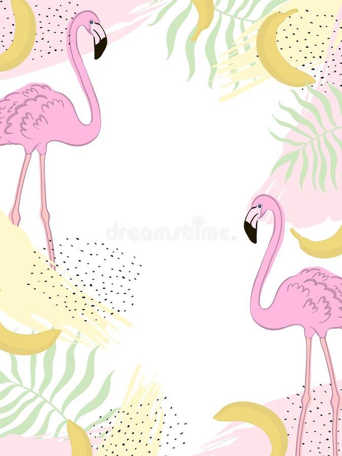 Vectorkader tropische flamingo groene Bladeren royalty-vrije illustratie