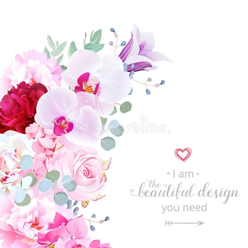 Vectorkader van de luxe het bloemen toenemende vorm met bloemen vector illustratie