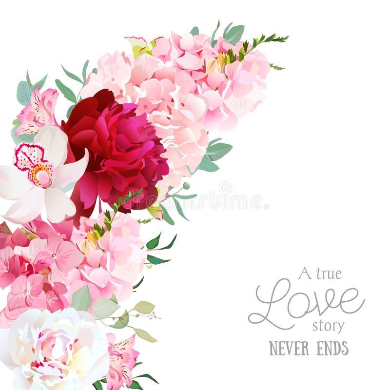 Vectorkader van de luxe het bloemen toenemende vorm met pioen, alstroemerialelie, orchidee, hydrangea hortensia, eucalyptus op wi vector illustratie
