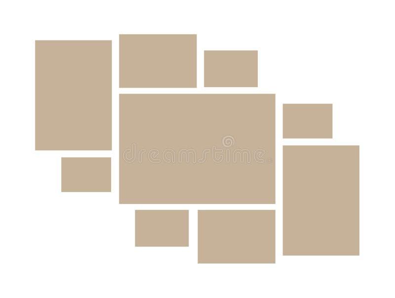 Vectorkader voor foto's en beelden, fotocollage, fotoraadsel De kaders van de malplaatjescollage voor foto of illustratie Vectors vector illustratie