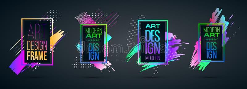 Vectorkader voor grafiek van de tekst de Moderne Kunst voor hipsters stock foto's