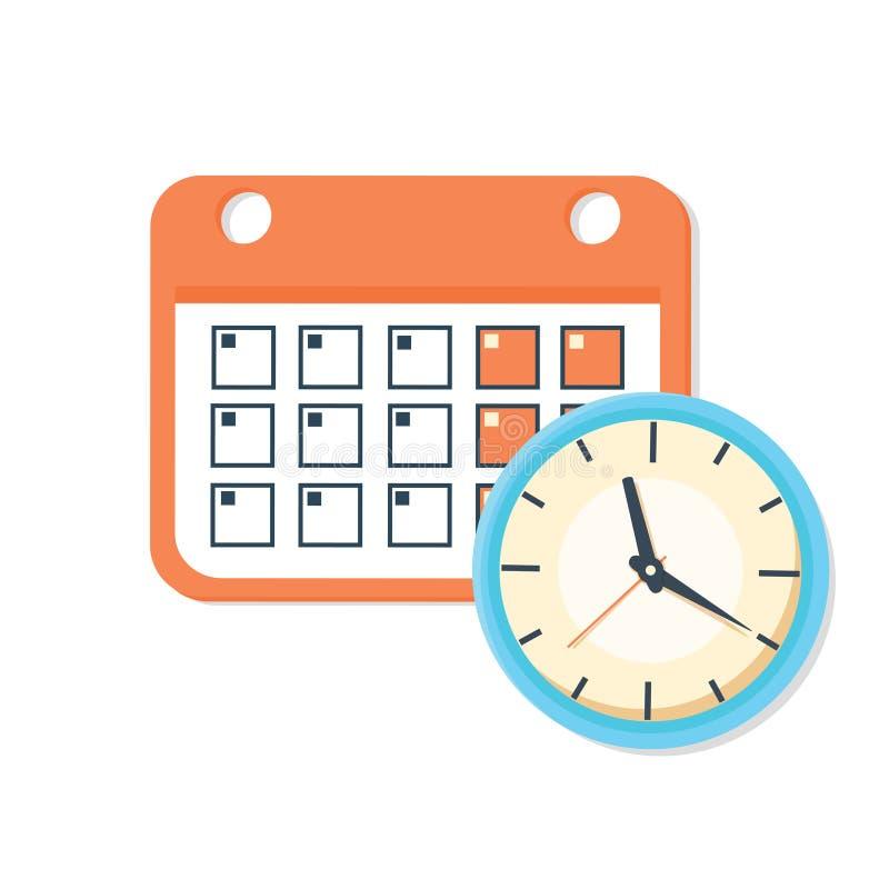Vectorkalender en klokpictogram Programma, benoeming, belangrijk datumconcept royalty-vrije illustratie