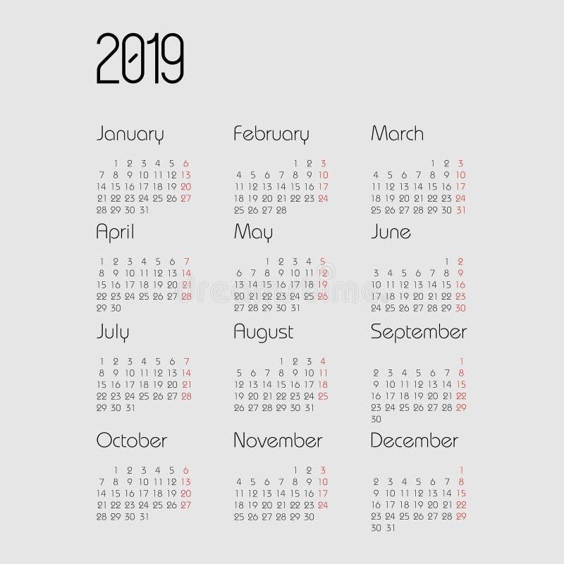 Vectorkalender 2019 jaar Ontwerpersontwerp Kalender 2019 vectormalplaatje stock illustratie