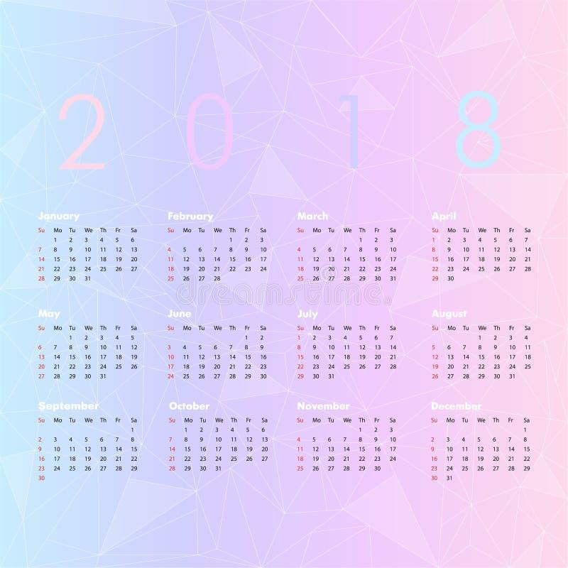 Vectorkalender voor 2018 royalty-vrije illustratie