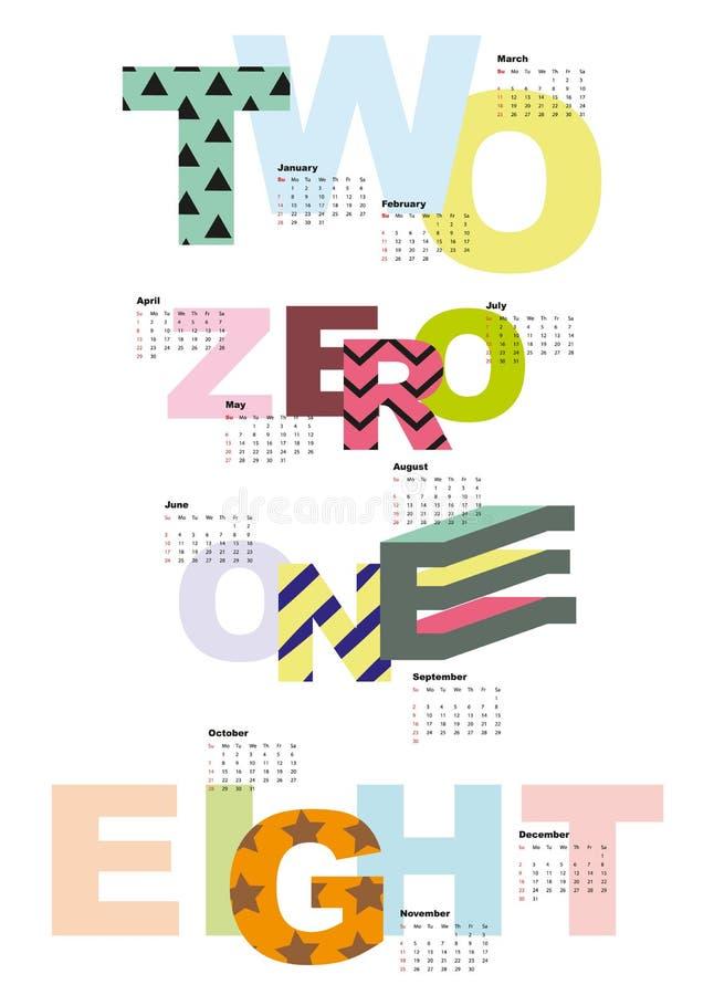 Vectorkalender voor 2018 vector illustratie