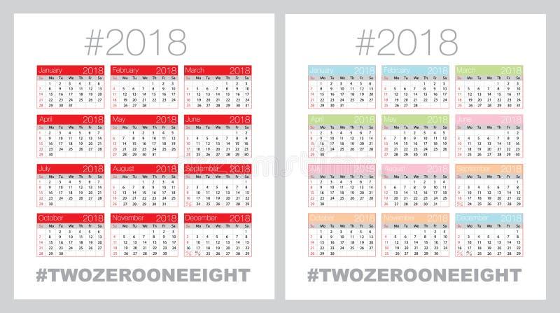 Vectorkalender voor 2018 stock illustratie