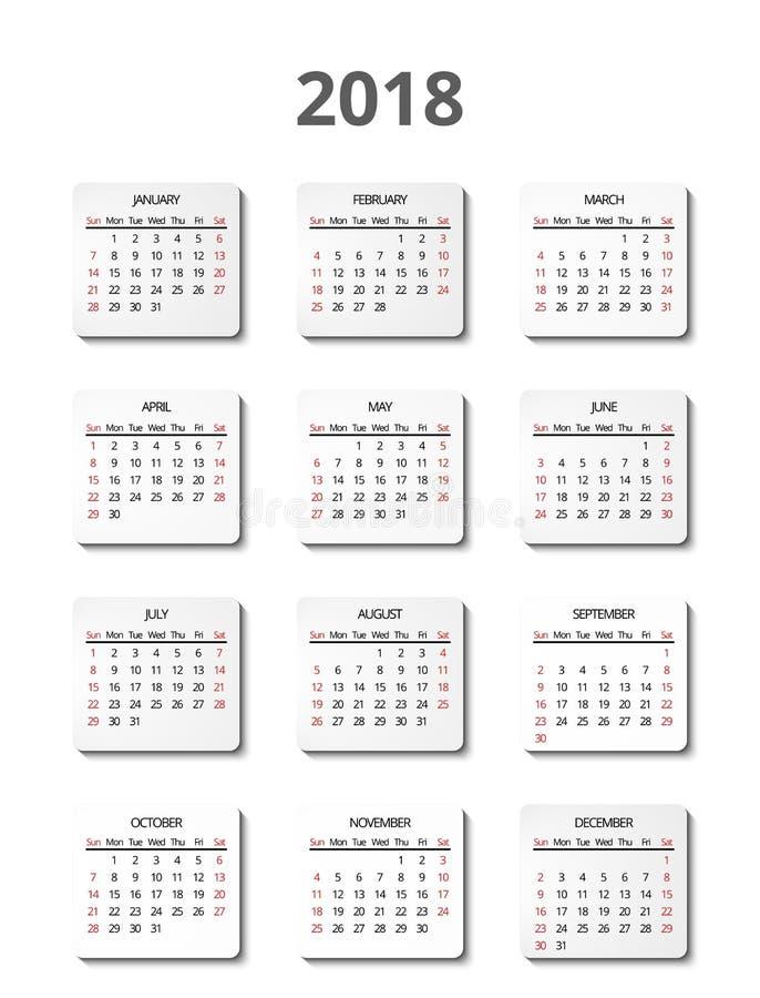 Vectorkalender voor 2018 jaar paginaaffiches royalty-vrije illustratie