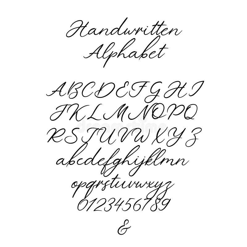 Vectorkalligrafiealfabet Exclusieve Brieven Decoratieve met de hand geschreven borsteldoopvont voor Huwelijksmonogram, Embleem, U stock illustratie