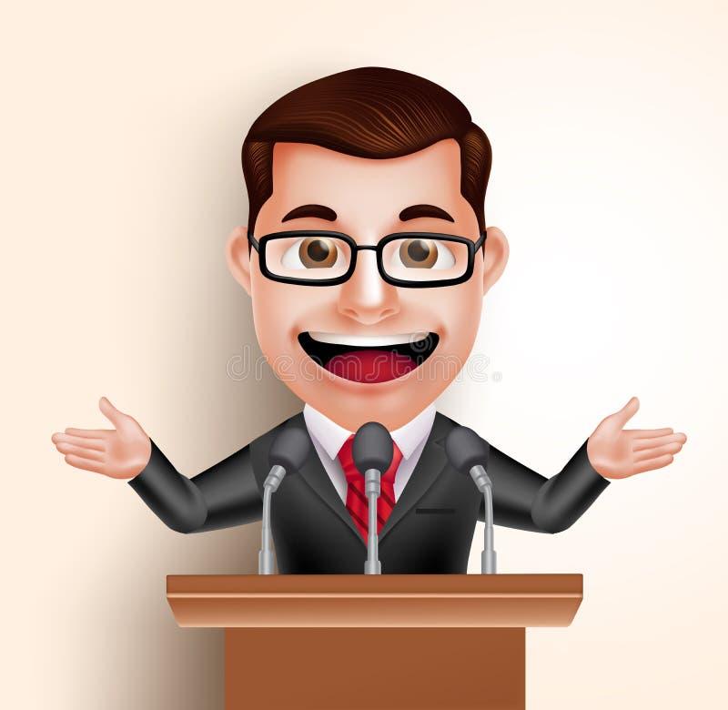 Vectorkarakter Gelukkige Politicus Man of Spreker in Conferentietoespraak vector illustratie