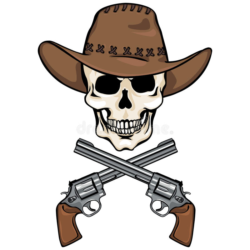 Vectorkarakter - schedelcowboy en gekruiste revolvers stock illustratie