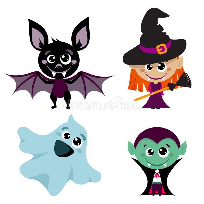 Vectorkarakters en pictogrammen voor Halloween in beeldverhaalstijl royalty-vrije illustratie