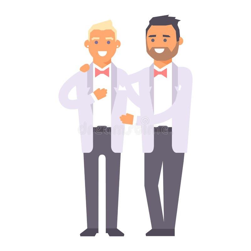 Vectorkarakters van huwelijks de vrolijke paren vector illustratie