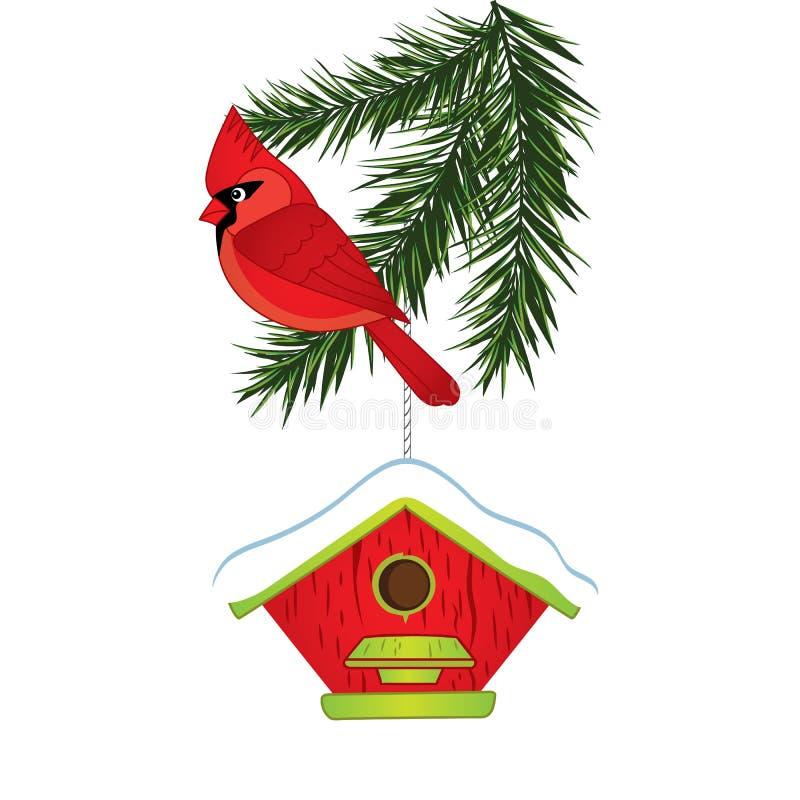 Vectorkardinaal, de Tak van de Pijnboomboom en Vogelhuis vector illustratie