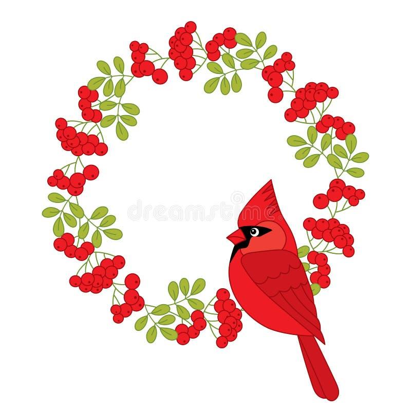 Vectorkardinaal met Kerstmiskroon stock illustratie