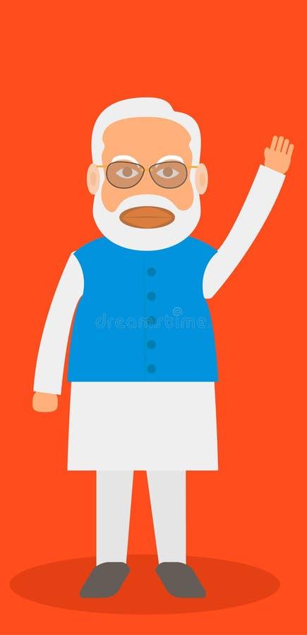 Vectorkarikatuur, Illustratie van Narendra Modi, Indische Eerste minister stock foto's