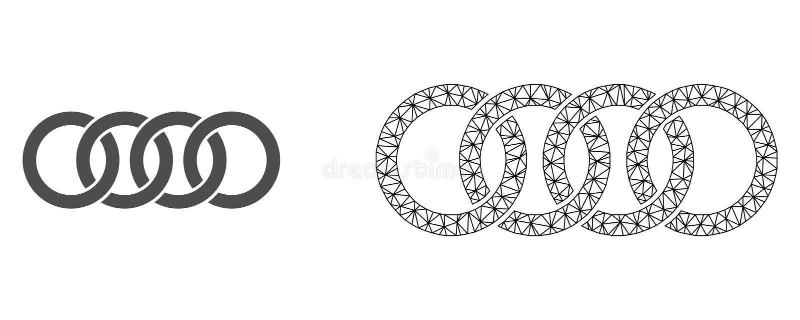 Vectorkarkas Mesh Circle Chain en Vlak Pictogram stock illustratie