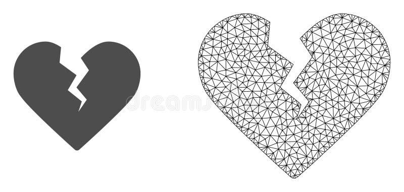 Vectorkarkas Mesh Divorce Heart en Vlak Pictogram vector illustratie