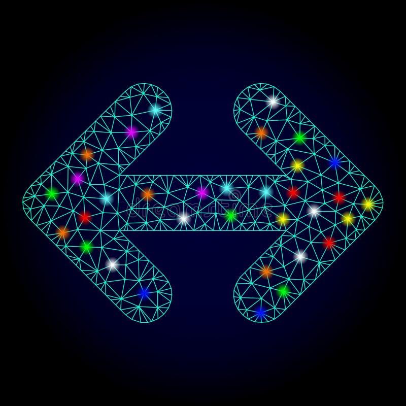 Vectorkarkas Mesh Exchange Arrows Horizontally met Glansvlekken voor Nieuwjaar vector illustratie