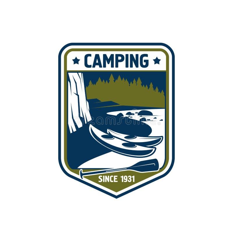 Vectorkentekenpictogram voor het kamperen sportavontuur royalty-vrije illustratie