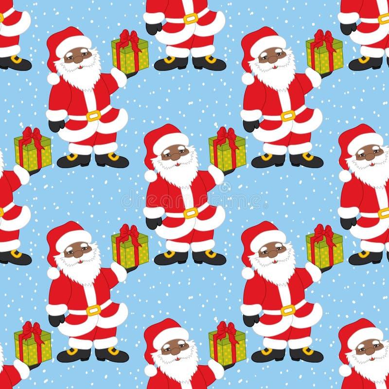 Vectorkerstmis en Nieuwjaar Naadloos Patroon met Santa Claus De vector Kerstman royalty-vrije illustratie