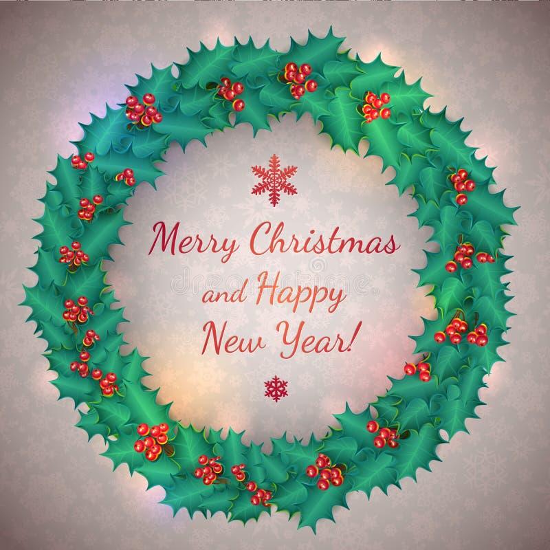 Vectorkerstmis Holly Wreath Garland Messages en vector illustratie
