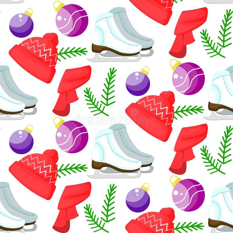 Vectorkerstmis naadloos patroon Leuke kleurrijke beeldverhaalillustratie Volkomen voor verpakkend document, bedlinnen, textiel royalty-vrije illustratie