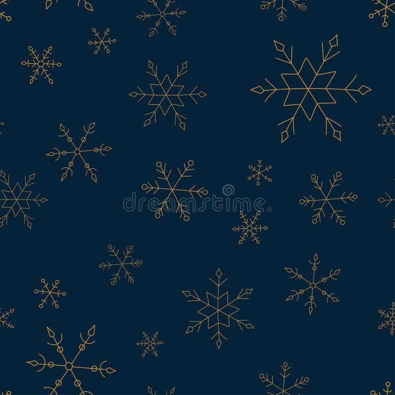 Vectorkerstmis naadloos patroon met sneeuwvlokken royalty-vrije illustratie