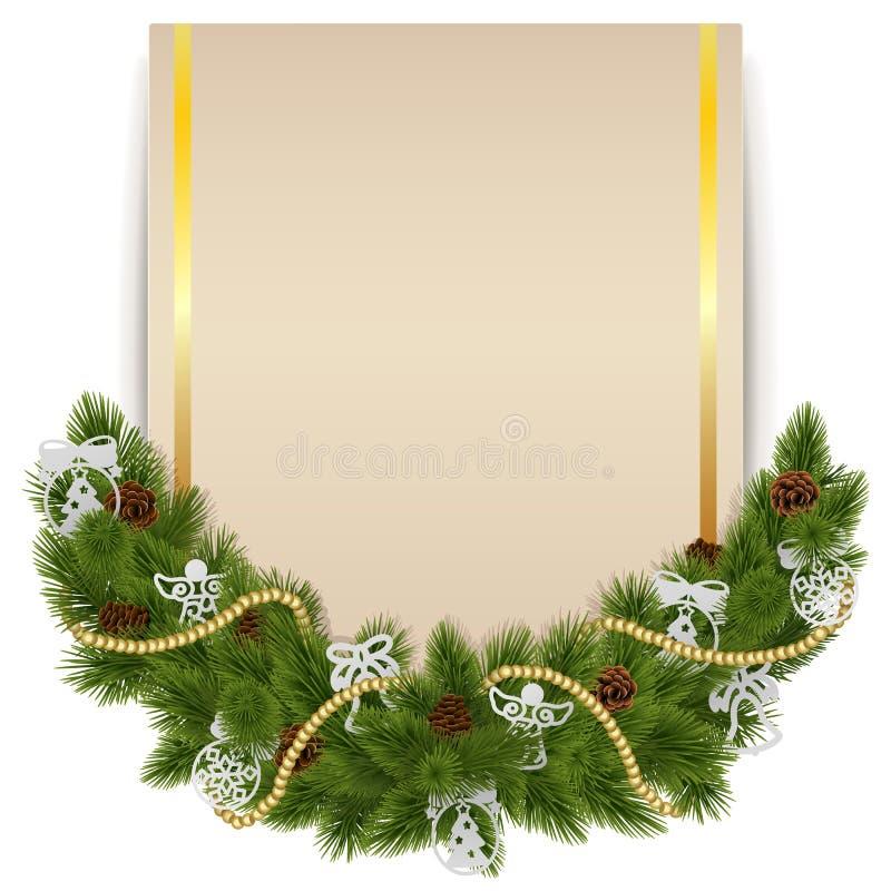 Vectorkerstmisdecoratie met Kaart royalty-vrije illustratie