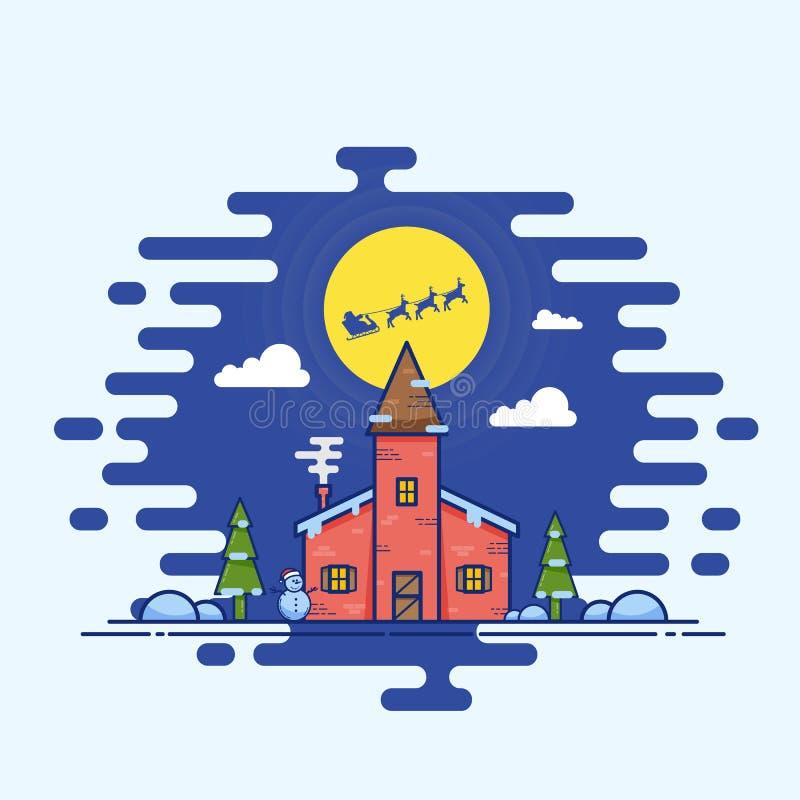 Vectorkerstmisillustratie van de lijnstijl Huis met Sneeuwman, Bomen, Maan en Vliegende Santa Sleigh royalty-vrije illustratie
