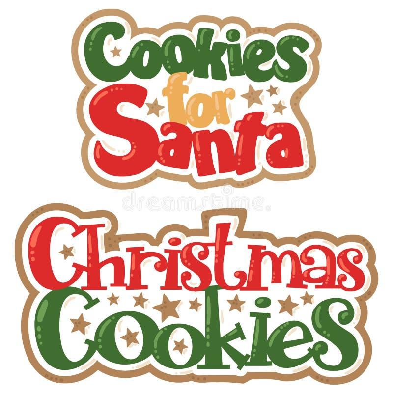 Vectorkerstmiskoekjes voor Santa Titles Christmas Illustrations vector illustratie