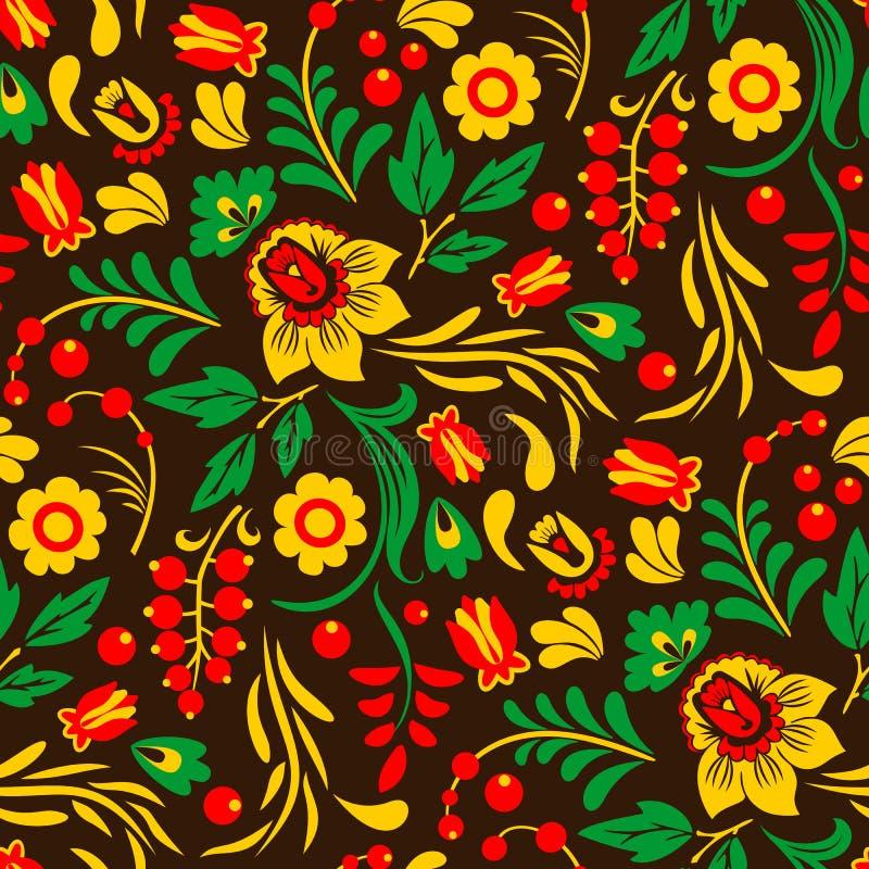 Vectorkhokhloma, Rus schilderde en lakte houten kommen, lepelt de naadloze traditionele getrokken hand van het patroonontwerp royalty-vrije illustratie