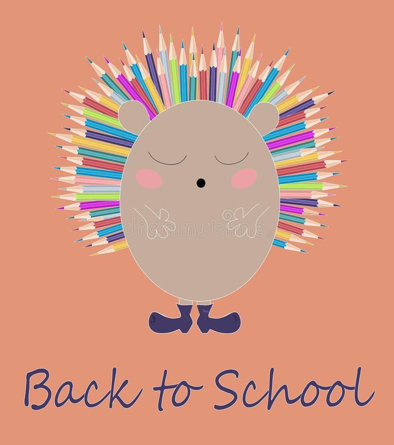Vectorkinderenillustratie, druk met leuke egel met kleurrijke potloden als naalden Terug naar de kaart van het schoolbeeldverhaal royalty-vrije illustratie