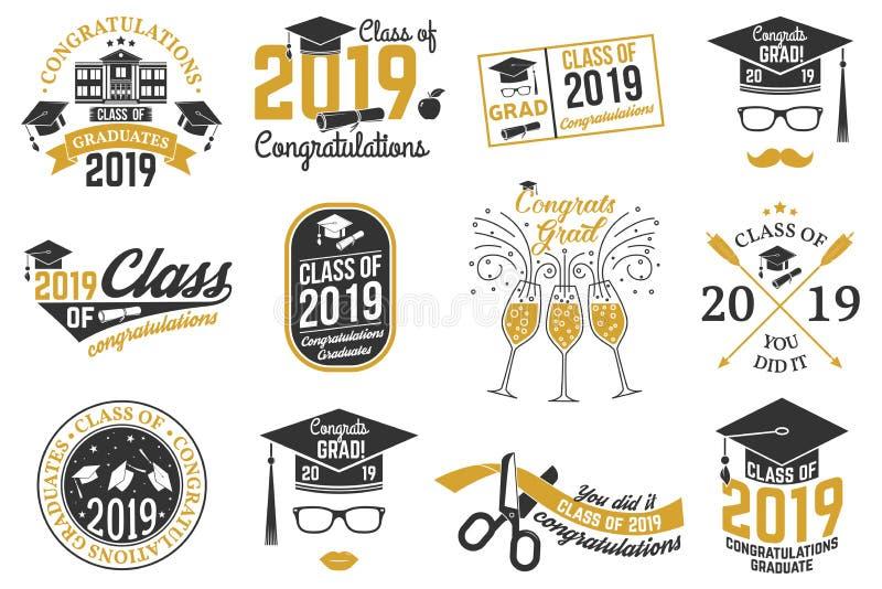 Vectorklasse van het kenteken van 2019 stock illustratie