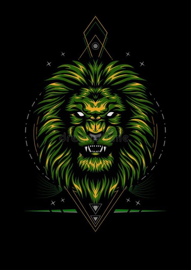 Vectorkleur Lion Illustration in de nacht vector illustratie