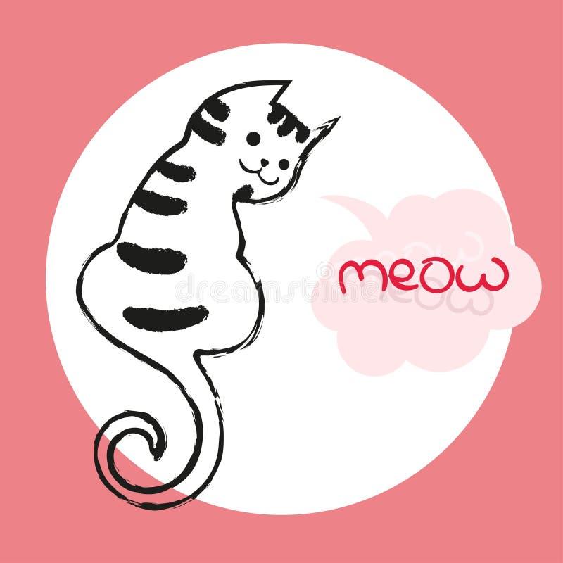 Vectorkleurenillustratie van de hand getrokken schets van kat met tekstmiauw in de toespraakbel van de wolkenvorm De kat van het  royalty-vrije illustratie