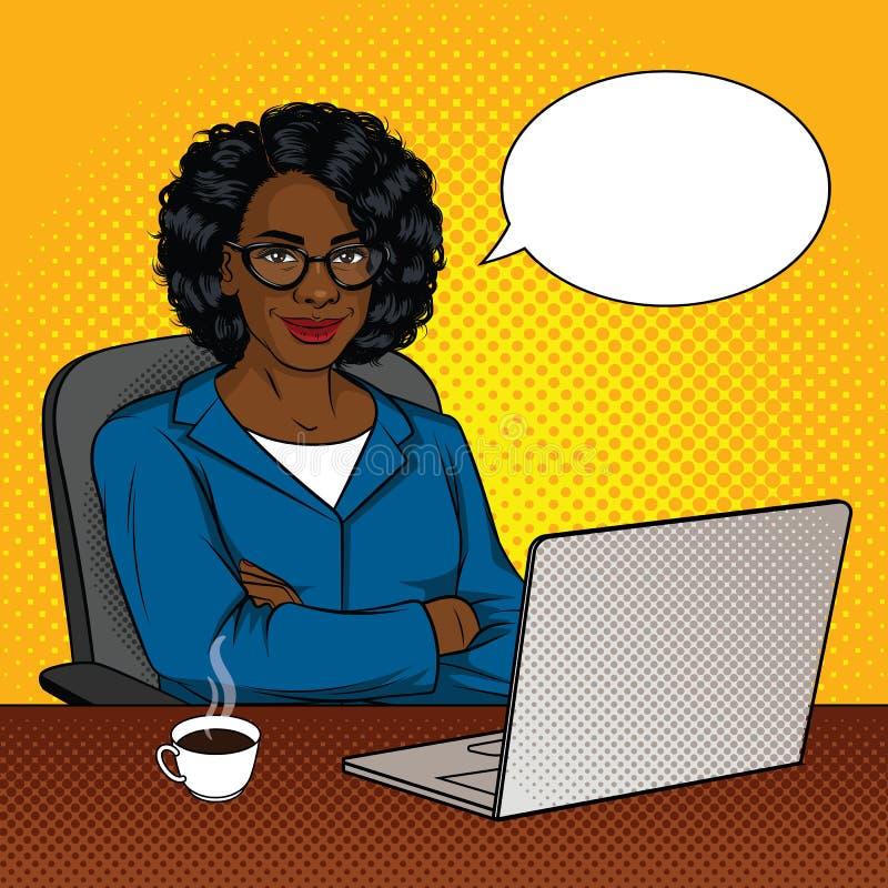 Vectorkleurenillustratie van succesvolle Afrikaanse Amerikaanse zakenlieden in bureauruimte royalty-vrije illustratie