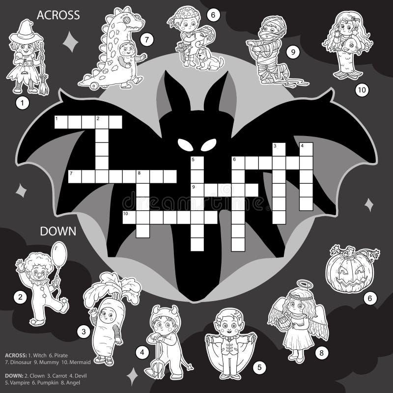 Vectorkleurenkruiswoordraadsel, onderwijsspel over Halloween vector illustratie